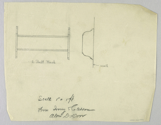 Drawing, Design for Two-Shelf Wall Rack, 1900–05