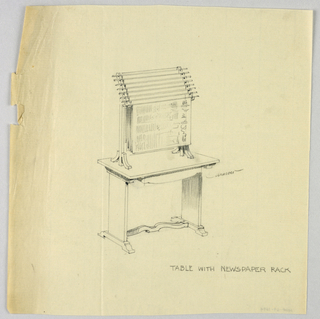 Drawing, Design for Table with Newspaper Rack, 1900–05