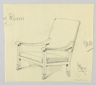 Drawing, Designsfor Stuffed Chair, Rocker, and Arm Chair (easy chair)