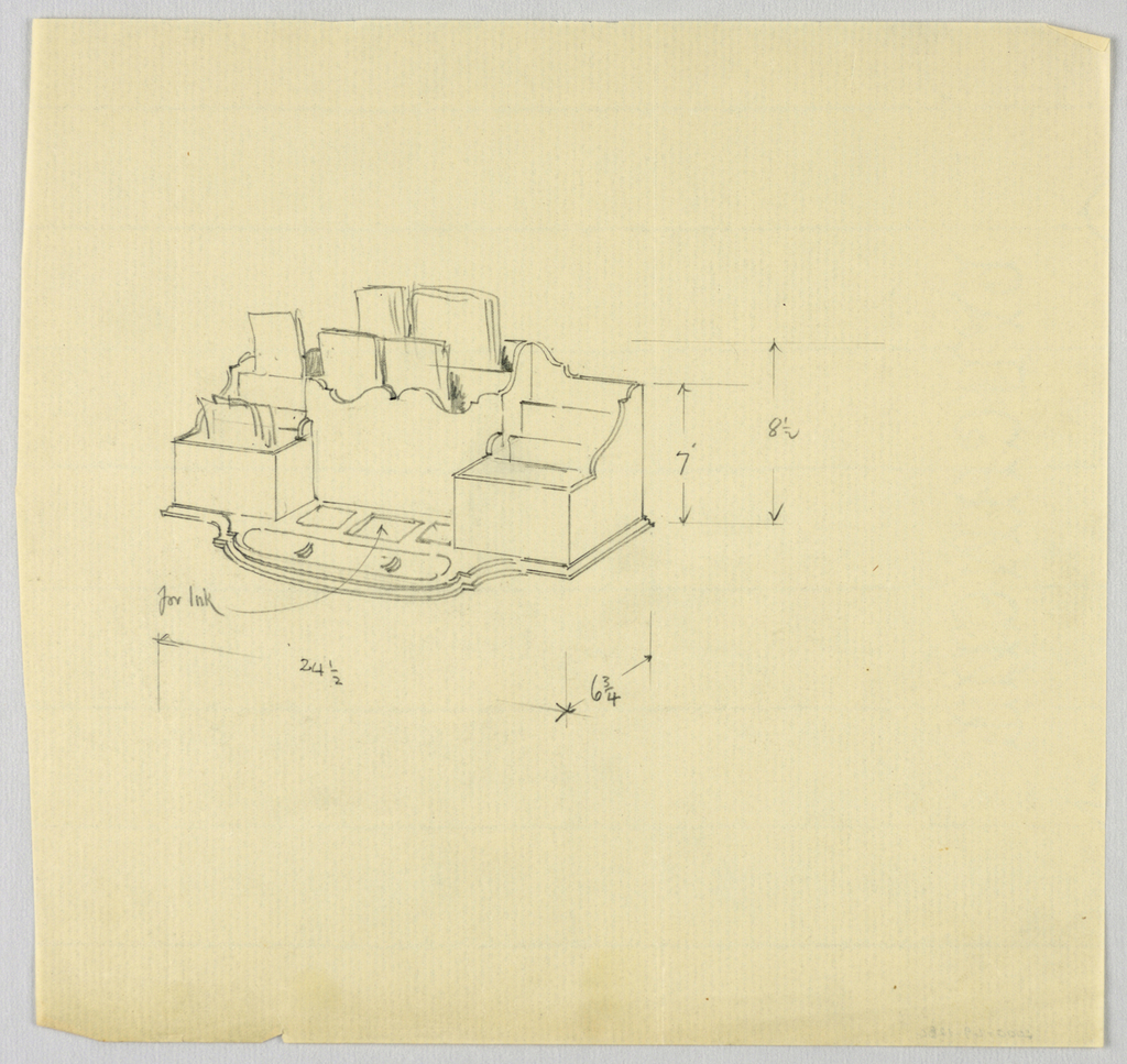 Drawing, Design for Desk Organizer with Stationery, 1900–05