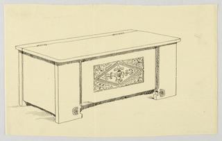 Drawing, Design for Plain Cassone, 1900–05