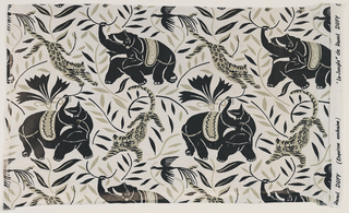 Piece of printed cotton with swirling design of elephants and leopards amid vines, in gray-green and black on a white ground.