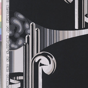 Length of printed cotton with Art Deco-inspired forms in shades of gray on a black ground.