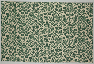 A cream-colored ground has a medium-scale repeat of stylized green flowers arranged in close-set ogival shapes containing carnations and other floral sprigs. Printed in bright green overset with gray to give effect of relief on coarse linen woven with short warp and weft floats to give texture.