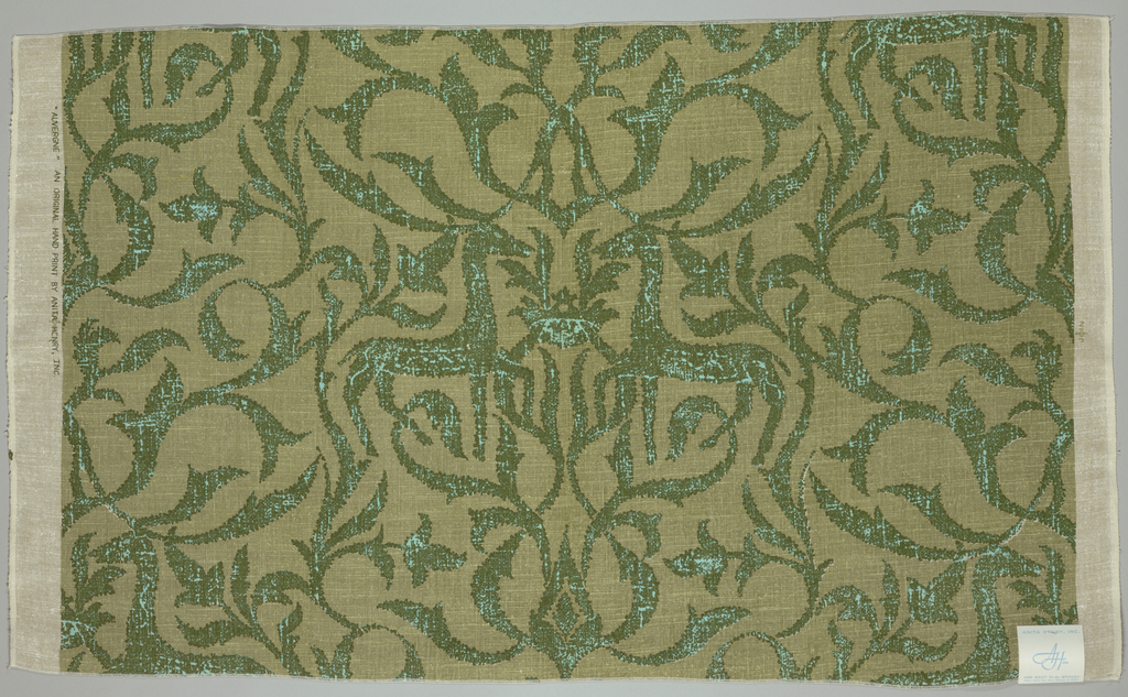 Natural-colored ground printed in shades of green and blue in a design of confronted stags surrounded by swirling foliage. Inspired by a German 13–14th century printed linen in the Cooper Hewitt collection (1902-1-928).