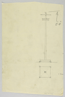 Drawing, Design for Plain Hat Tree in Plan and Elevation, 1900–05
