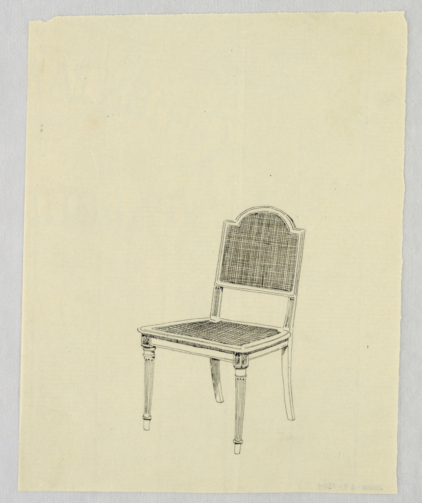 Drawing, Design for Armless Chair with Caning