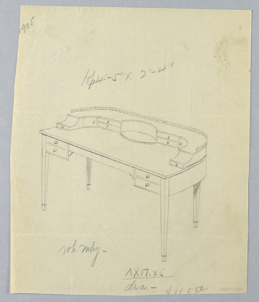Drawing, Design for Long Semi-Circular Writing Table with Railing Atop