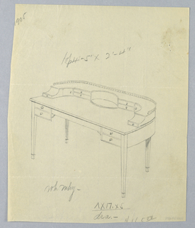 Drawing, Design for Long Semi-Circular Writing Table with Railing Atop, 1905