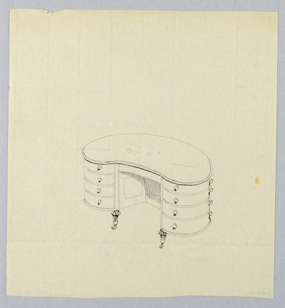 Drawing, Design for Kidney-Shaped Writing Table with Eight Drawers