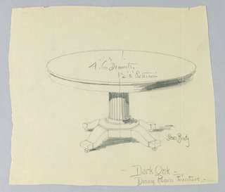 Round molded table top raised in fluted columnar support, sitting atop molded octagonal base terminating in 4 splayed legs on casters.