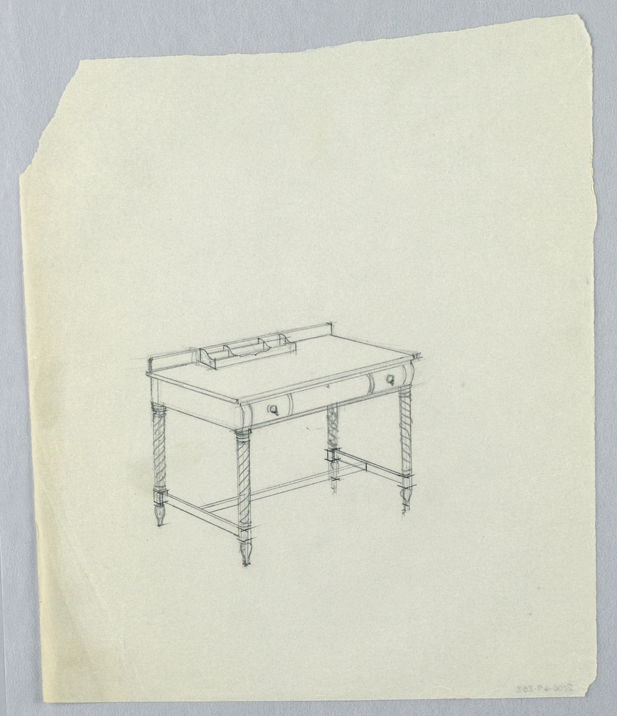 Drawing, Design for Writing Table with Turned Legs and Six-Cubbyhole Nest Atop