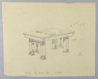 "Drawing, Design for Den Table ""A"" of Black Oak, 1900–05"
