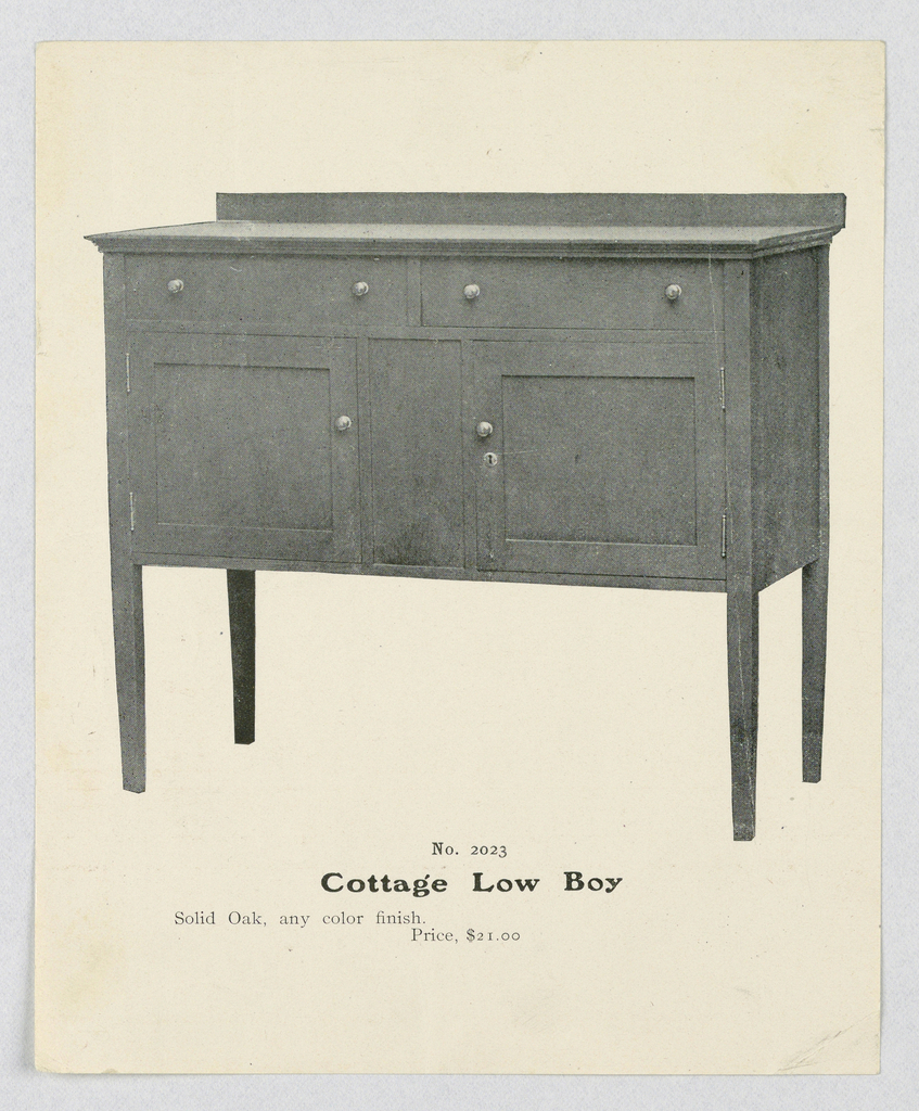 Rectangular lowboy with 4 straight slightly tapering legs and 2 doors topped by 2 horizontal drawers; plain backsplash.