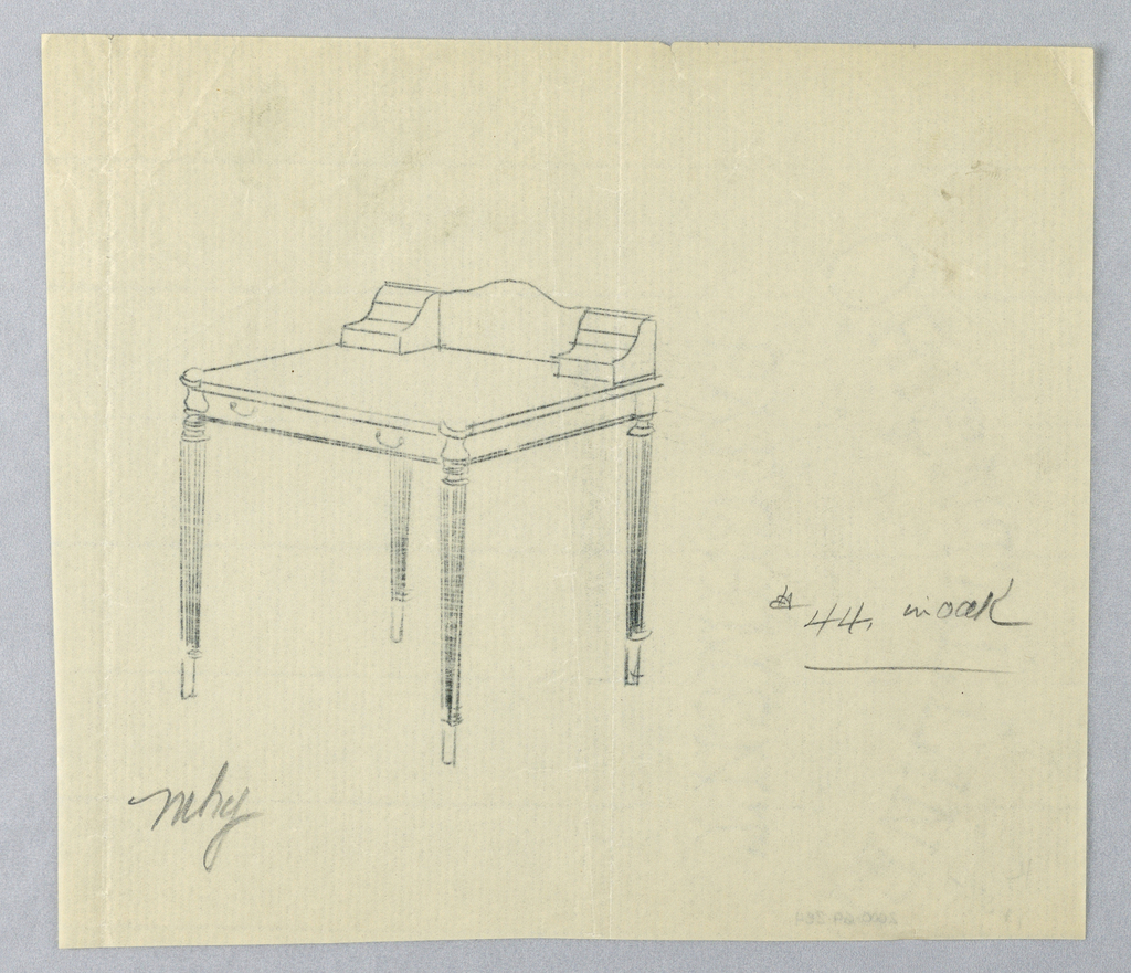 Drawing, Design for Writing Table #44 in Oak