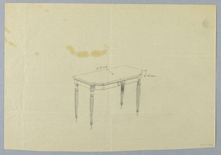 Drawing, Design for Recangular Card Table with Inlay and Round Tapering Fluted Legs