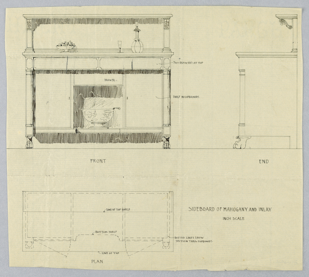 """Front, """"end,"""" and plan views of rectangular mahogany sideboard with inlay; front view shows rectangular sideboard with cylindrical legs flaring up from paw feet and has knee space at center topped with single drawer flanked by cupboards; wine cooler on top; backsplash carved with acanthus leaves; shelves hold fruit vase, glass, and wine decanter."""