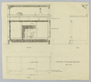 "Front, ""end,"" and plan views of rectangular mahogany sideboard with inlay; front view shows rectangular sideboard with cylindrical legs flaring up from paw feet and has knee space at center topped with single drawer flanked by cupboards; wine cooler on top; backsplash carved with acanthus leaves; shelves hold fruit vase, glass, and wine decanter."