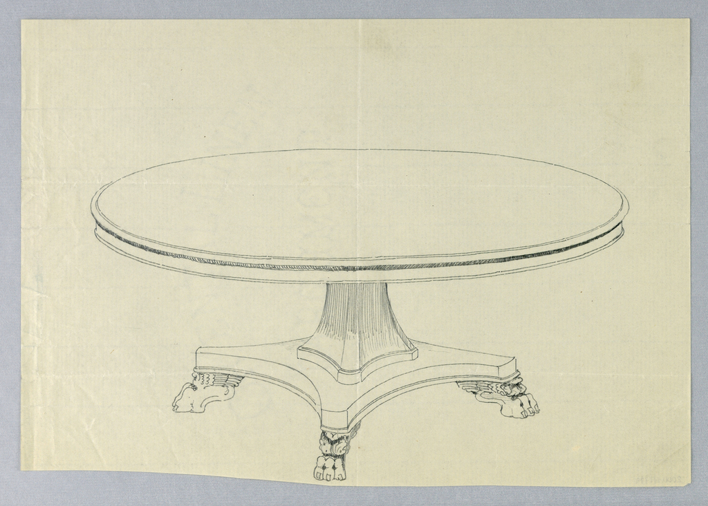 Round molded table top raised on flaring molded rectangular support, standing on molded rectangular base with 4 winged animal-paw feet.