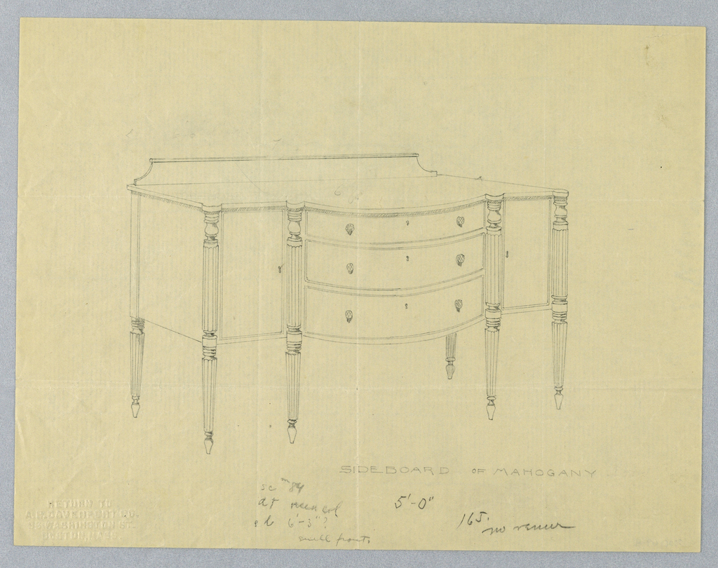 Sideboard with front visually divided into three sections by vertical fluted and turned columnar pieces; convex central section contains three drawers, each with two round pulls and a key hole at its center; low backsplash at back of top.