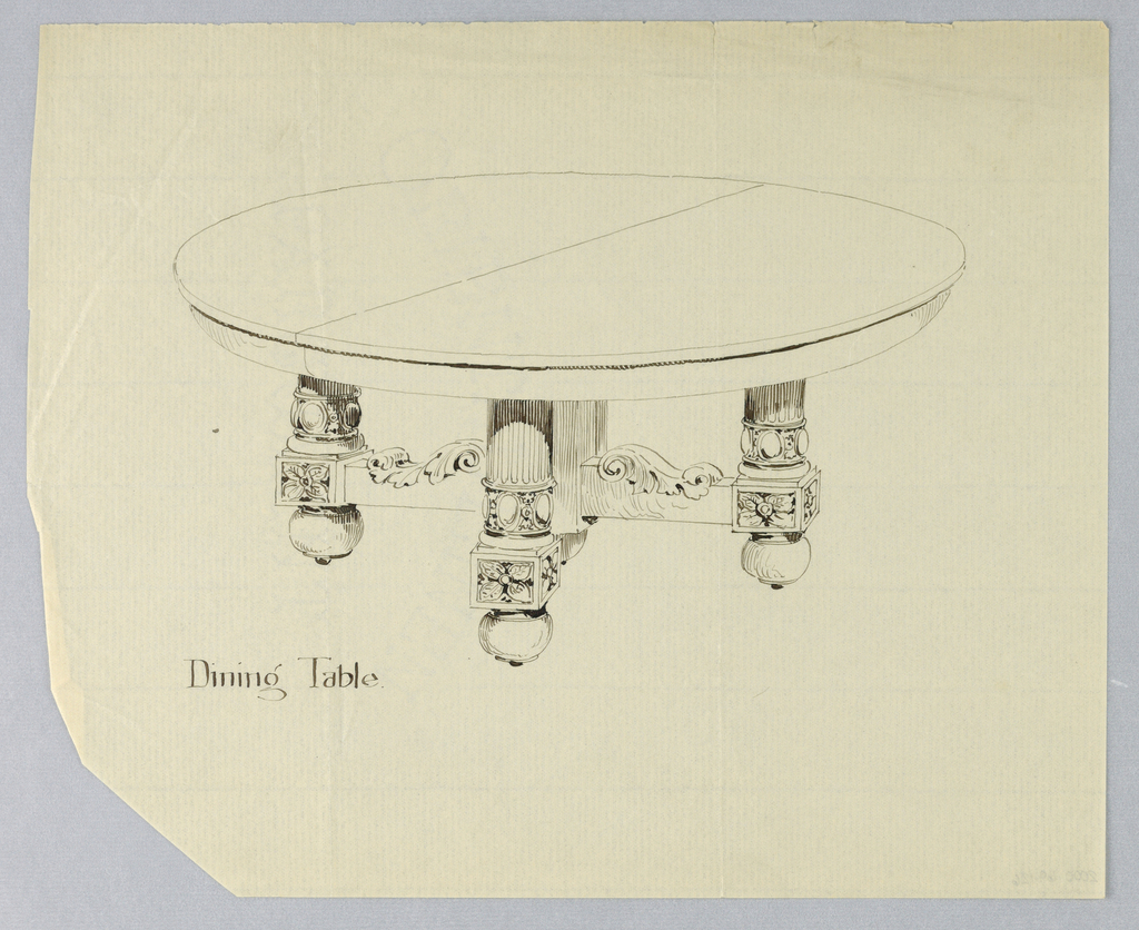 Round molded table top wth dividing stretcher across center; four fluted columnar legs elaborately carved at bottoms and terminating in carved square-shaped elements on bun feet; legs joined by stretchers decorated with carved acanthus leaf scrolls.