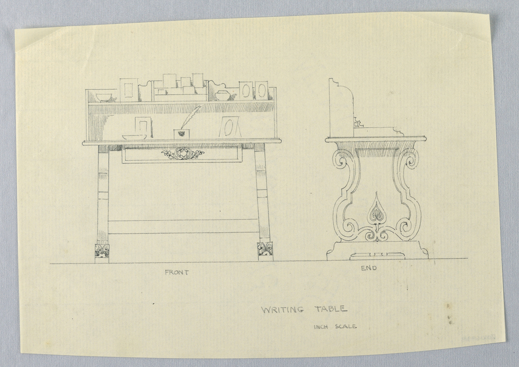 Drawing, Design for Rectangular Writing Table on Scrolled Supports, in Two Views