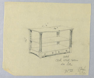 Drawing, Design for Serving Table with Two Upper Shelves