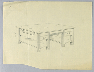 """Drawing, Design for Library Table """"B"""" with Six, Fluted, Square Legs and Pull-Out Shelf on Side, 1900–05"""