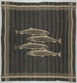 Tablecloth of unbleached linen with serged edges. A design of four fish in the center field and striped borders on four sides are reserved in the natural linen through the wax-resist process. Black ink is hand-applied using the drag box, overlapping the bands of color to create an irregular stripe of deep gray and black.  Three napkins, two of white linen, one unbleached linen, with black ink hand-applied using the drag box, overlapping the bands of color to create an irregular stripe of deep gray and black.