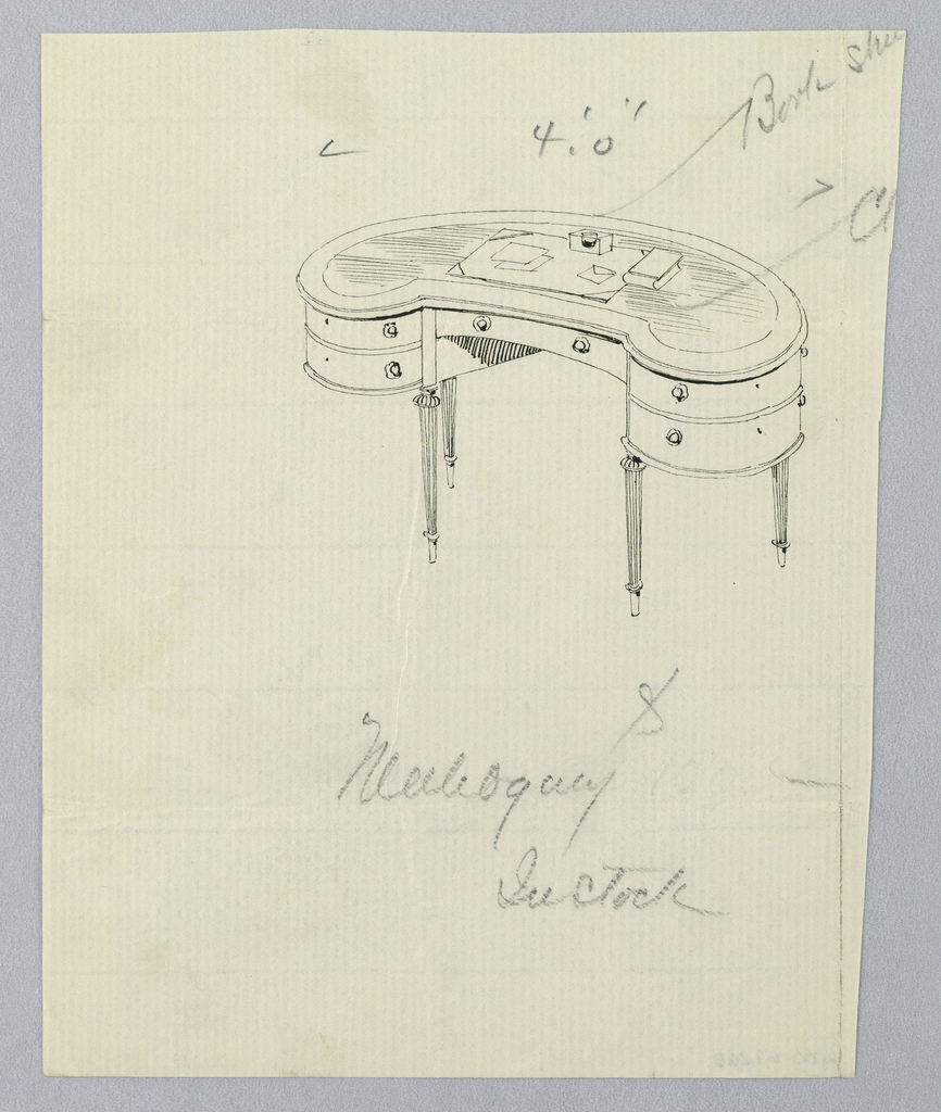 Drawing, Design for Kidney-Shaped Writing Table with Five Drawers in Mahogany