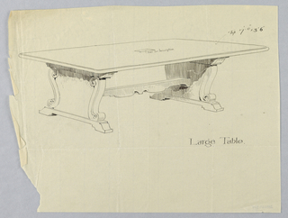 Drawing, Design for Large Library Table with Plate for Inscription at Center of Top, 1900–05