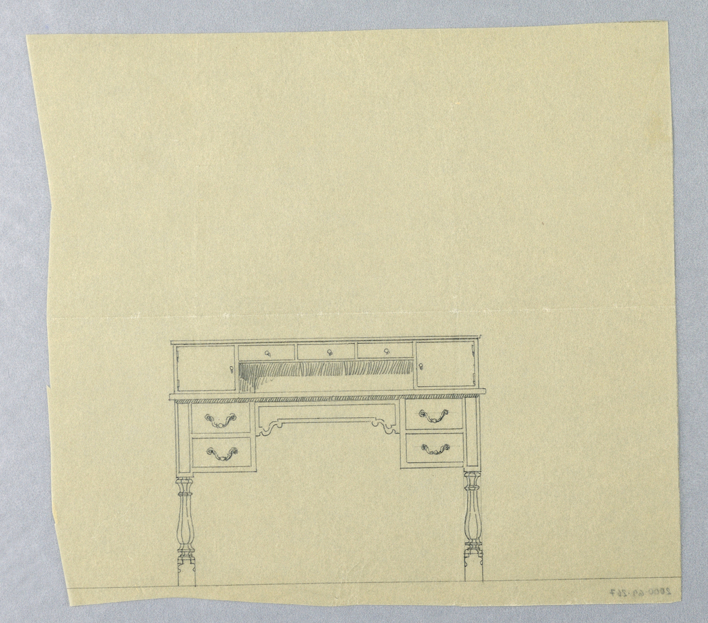 Drawing, Design for Two-Tiered Writing Table with Seven Drawers