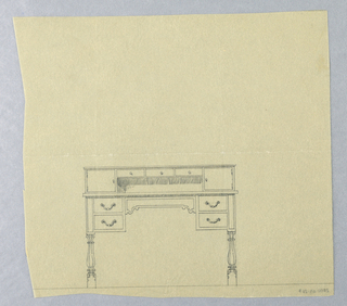 Drawing, Design for Two-Tiered Writing Table with Seven Drawers, 1900–05