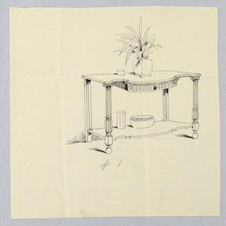 Oblong table top with molded convex front and single drawer; decorative motifs of acanthus leafs and gadrooning; raised on 2 frontal ionic columnar fluted and gadrooned legs terminating in ball feet; conforming lower shelf attaches just above floor level; on table top, square Chinese jar with plant in it and small round bowl at left; on lower shelf, round bowl at center with tall faceted vase at left.