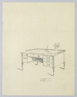 Drawing, Design for Rectangular Writing Table with Quill Pen and Inkwell Atop, 1900–05