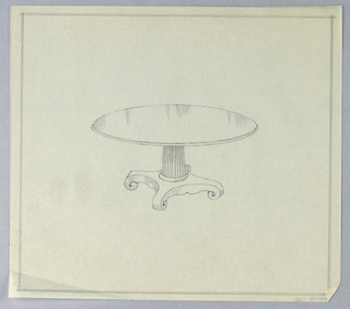 """Round thin molded table top raised on fluted columnar support with concentric moldings around bottom, sitting atop """"X""""-shaped molded base terminating in 4 scroll-like feet; double framing lines in graphite."""