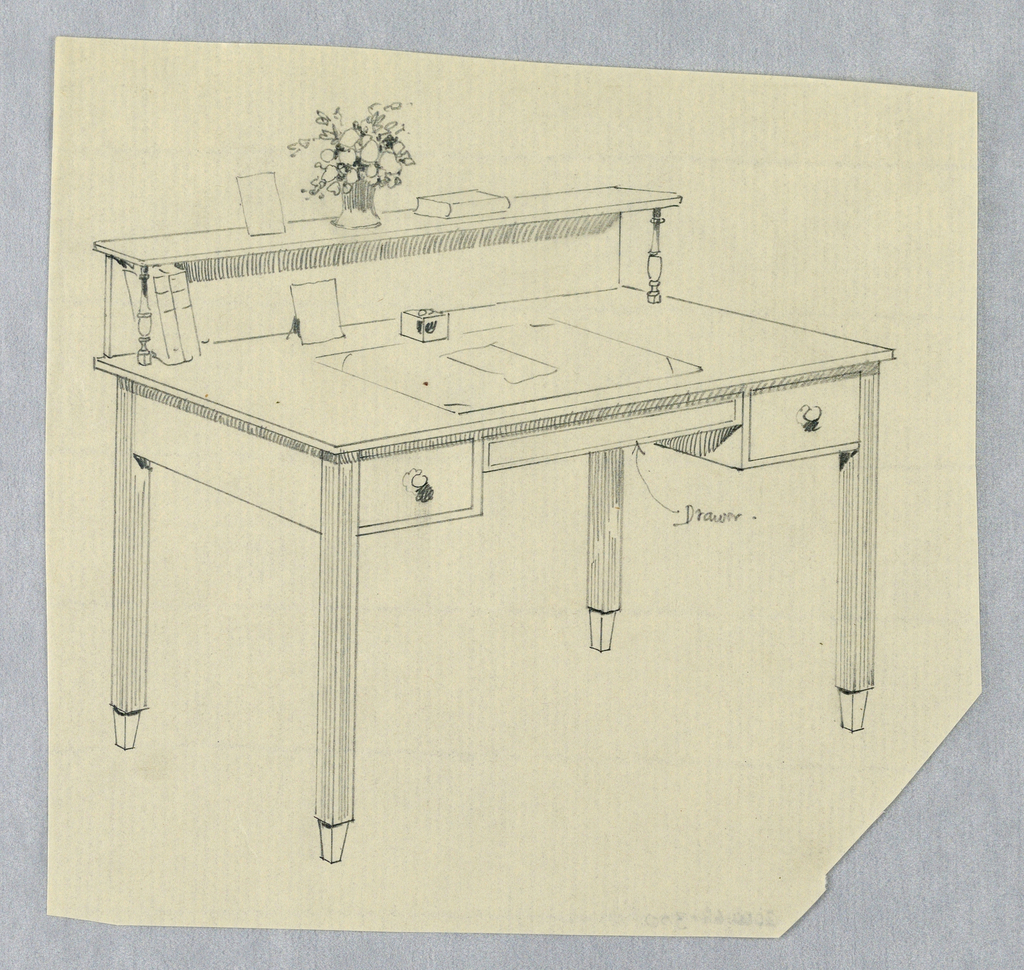 Drawing, Design for Rectangular Writing Table with Straight, Square, Fluted Legs and Three Drawers