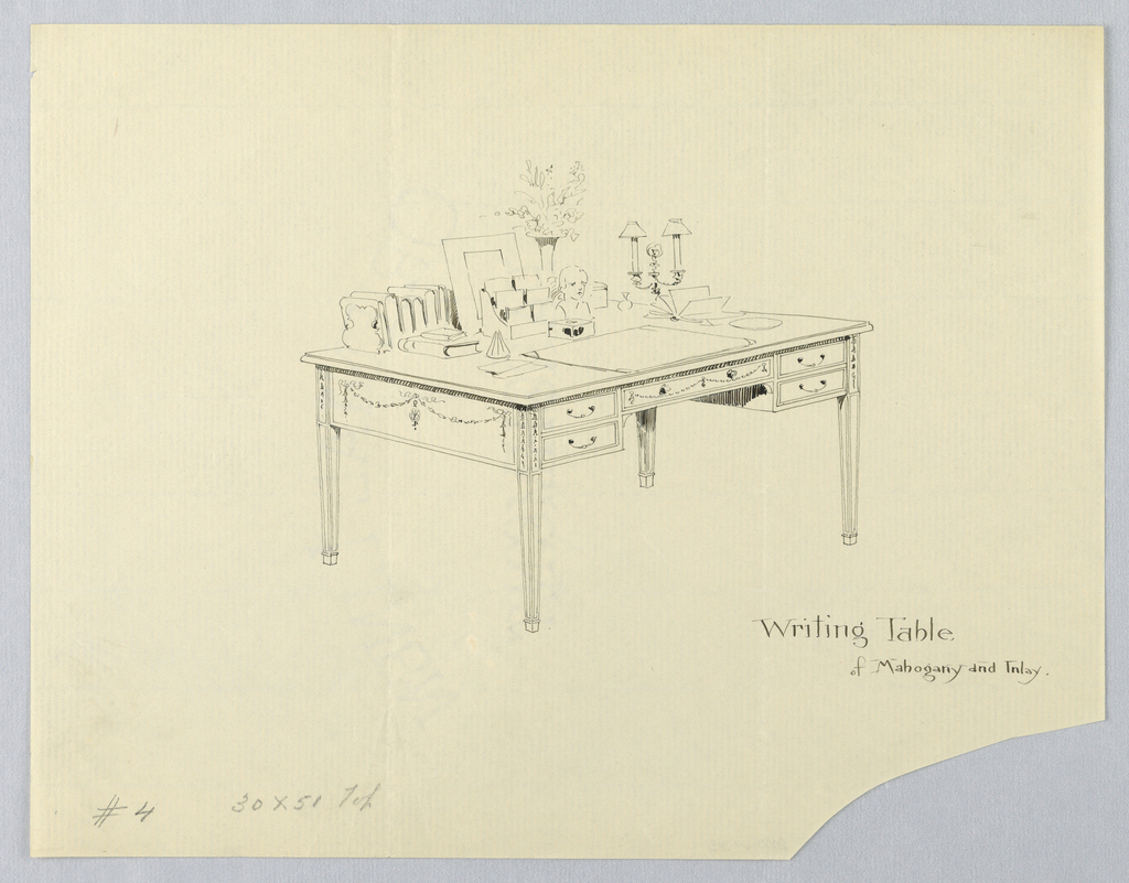 Drawing, Design for Rectangular Writing Table No. 4 with Bust and Double Lamp Atop