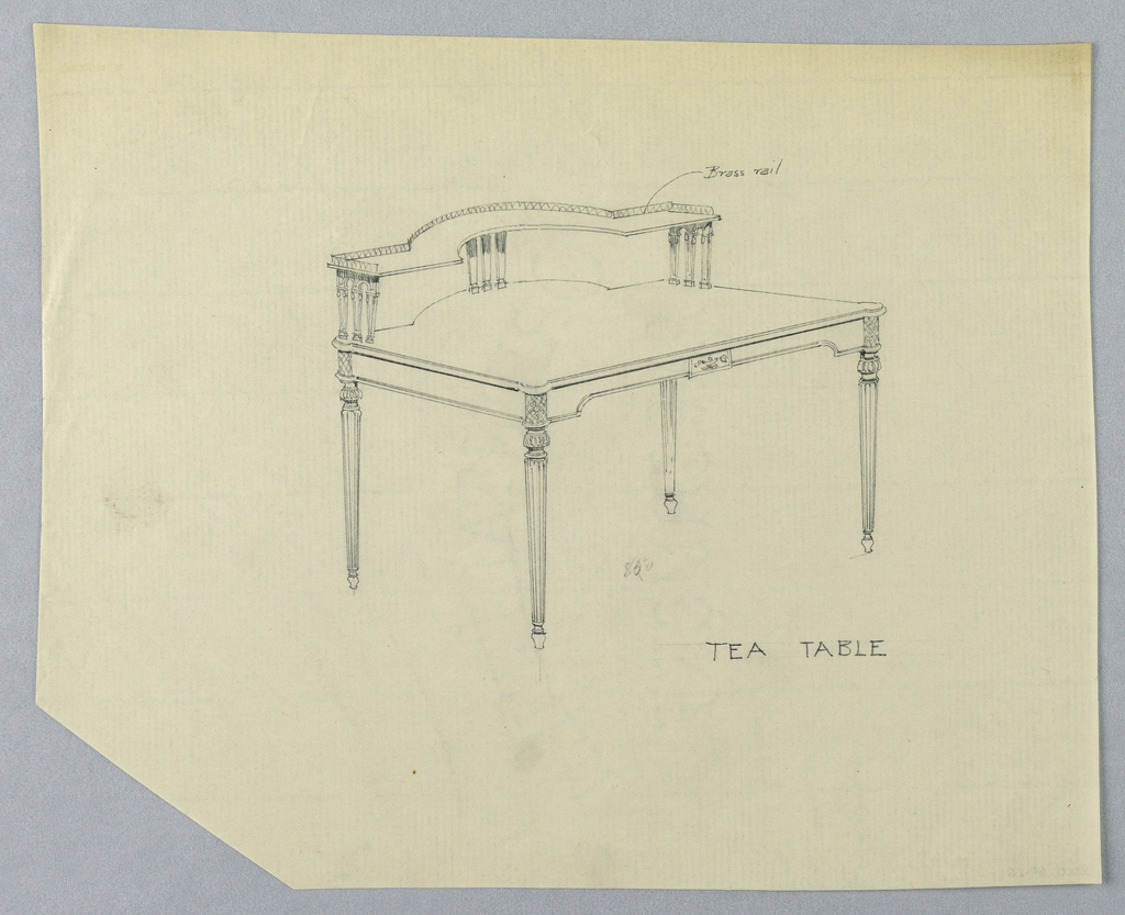Drawing, Design for Tea Table with Brass Railing Along Back of Upper Shelf