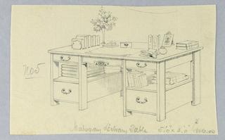 Drawing, Design for Mahogany Library Table No. 5, 1900–05