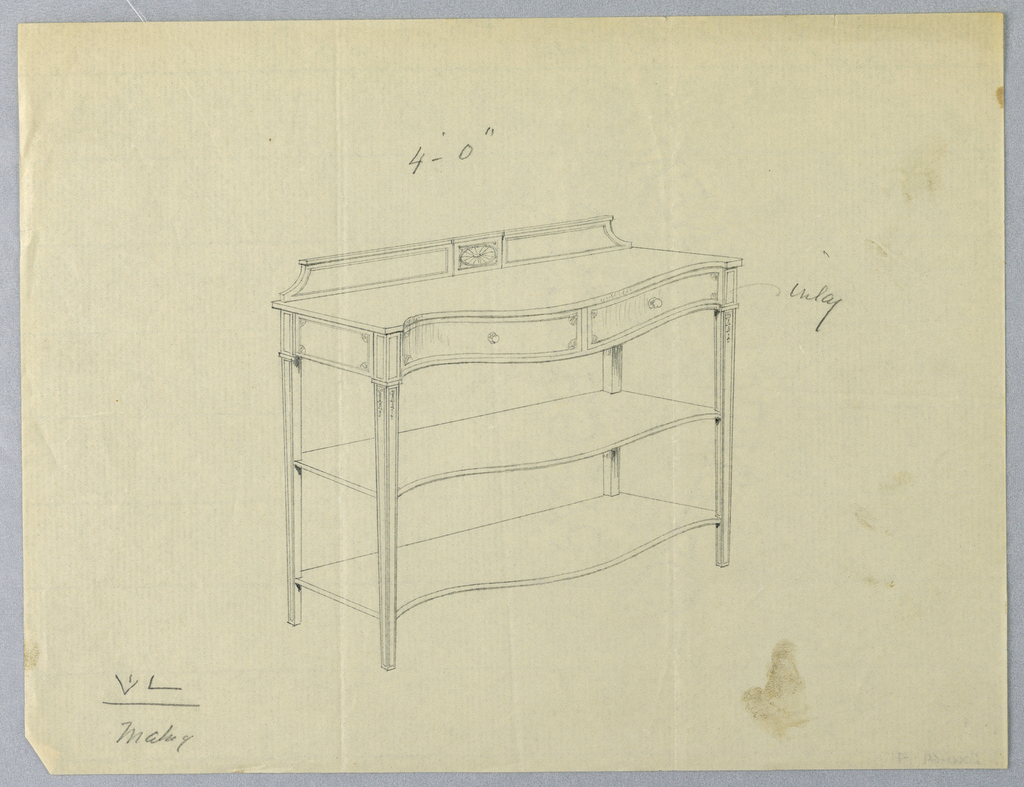 Oblong body with serpentine front having two drawers and raised on 4 straight tapering legs; 2 conforming shelves attach below; backsplash decorated with patera medallion at center.