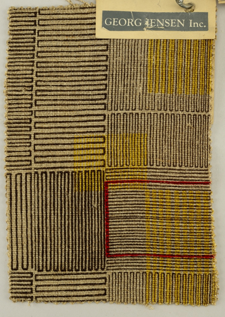 Printed sample with an irregular pattern comprised of blocks made of tightly spaced rectangular boxes. Design is printed in black, yellow and red on a beige linen ground.