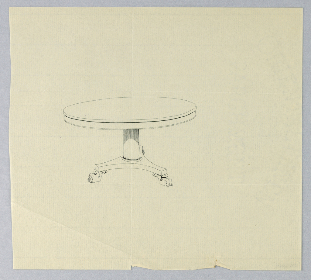 Round molded table top raised on plain column-like support standing on molded triangular base raised on three animal-paw feet.
