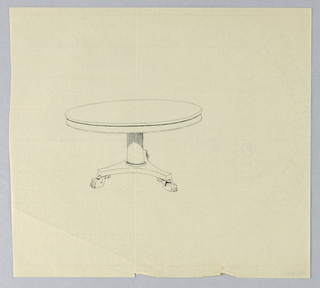 Round molded table top raised on plain column-like support standing on molded triangular base raised on three animal-paw feet.