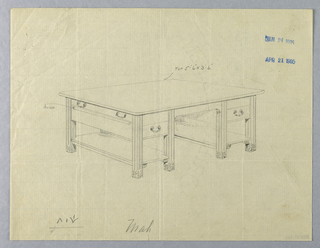 Drawing, Design for Massive Library Table Stamped January and April, 1905, 1900–05
