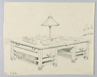 Drawing, Design for Massive Library Storage Table with Two Open Stretcher Shelves on Either Side, 1900–05