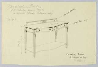 Narrow rectangular sideboard/serving table on four straight, tapering, fluted legs; cabinetry section has serpentine front with two horizontal drawers, each with pair of pulls and inlay designs at corners; patera medallion design on center of backsplash; hanging floral designs on top of front legs; separate shelf in same outline as top section slightly above floor level.