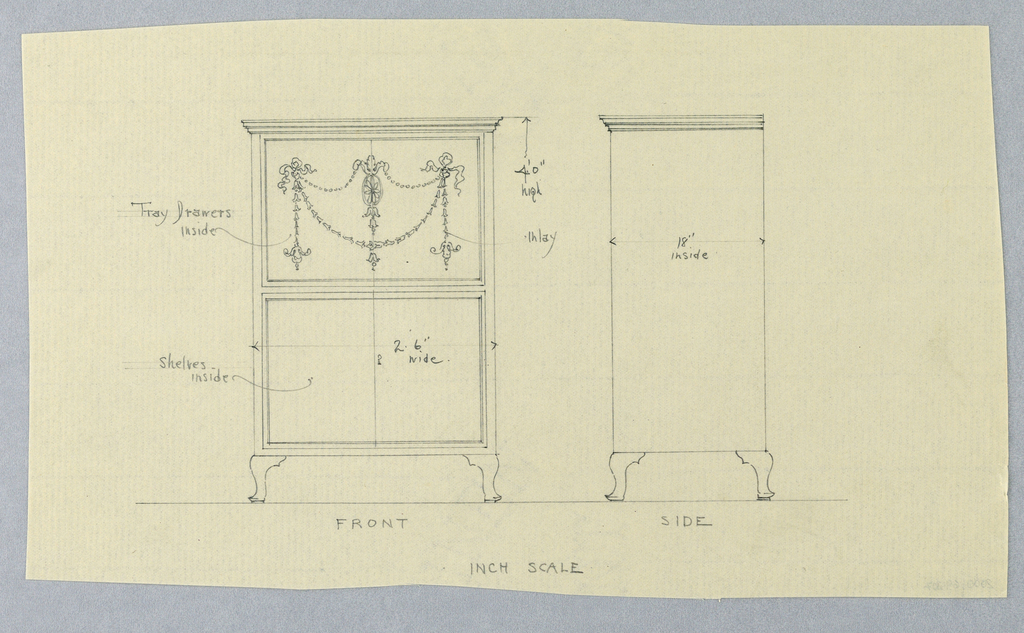Drawing Design For Cabinet With Neo Classical Motifs Front And