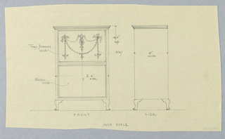 Front view: rectangular cabinet front divided horizontally into 2 parts - upper door panel decorated with suggested inlaid, neo-classical ornament and plain lower panel with keyhole center; body raised on short cabriole legs.  Side view: plain rectangular side panel of cabinet with molded frieze-like top, raised on short cabriole legs.