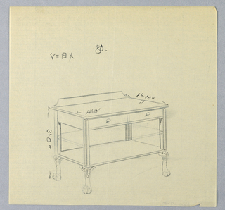Rectangular table top with 2 drawers at front, raised on 4 straight tapering bracket-shaped legs terminating in scrolling ball and claw feet with acanthus leaf motifs at fronts; 2 conforming lower shelves (the middle one suggested faintly in graphite) attached below table top; backsplash.